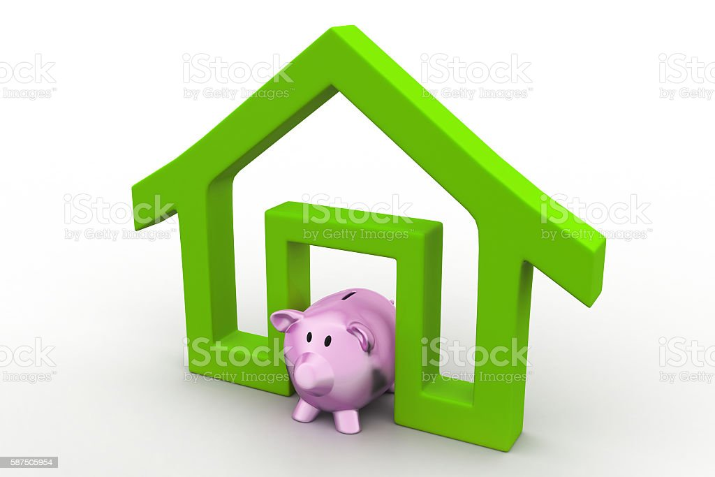 Home sign with piggy bank, investment concept stock photo