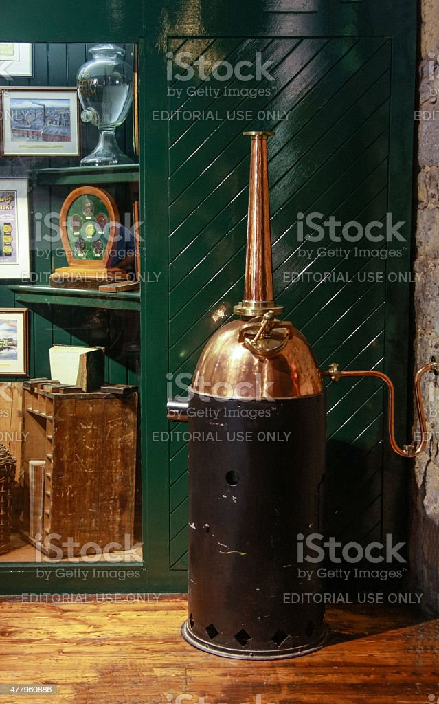 Home small copper whiskey distillery stock photo