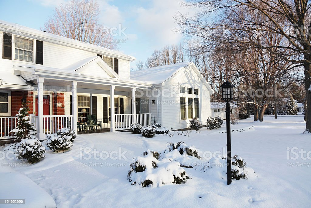 Home Snow House Winter Dawn Morning - Horizontal stock photo