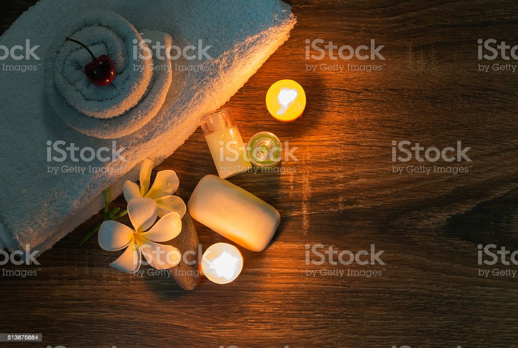 home spa with soap and candles stock photo