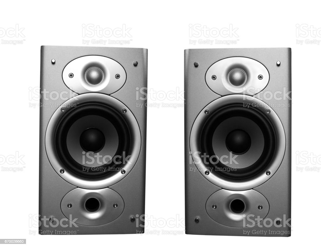 Home stereo speakers stock photo