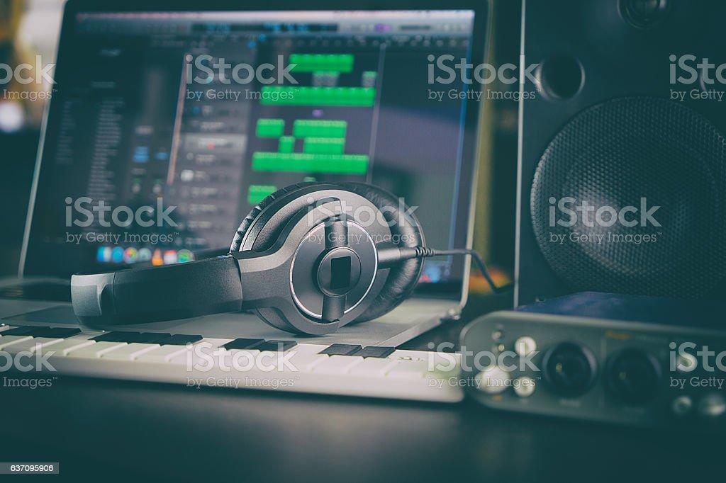 Home Studio Computer Music Station portable set up. stock photo