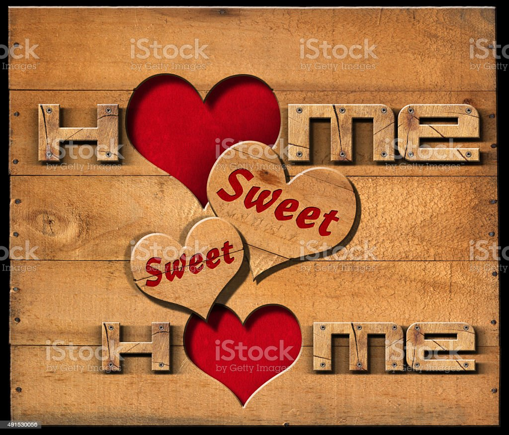 Home Sweet Home - Wooden Wall stock photo