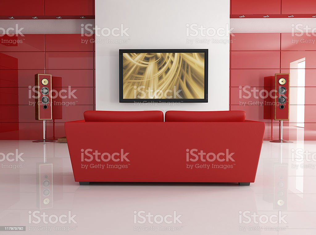 Home theater design in red color theme royalty-free stock photo
