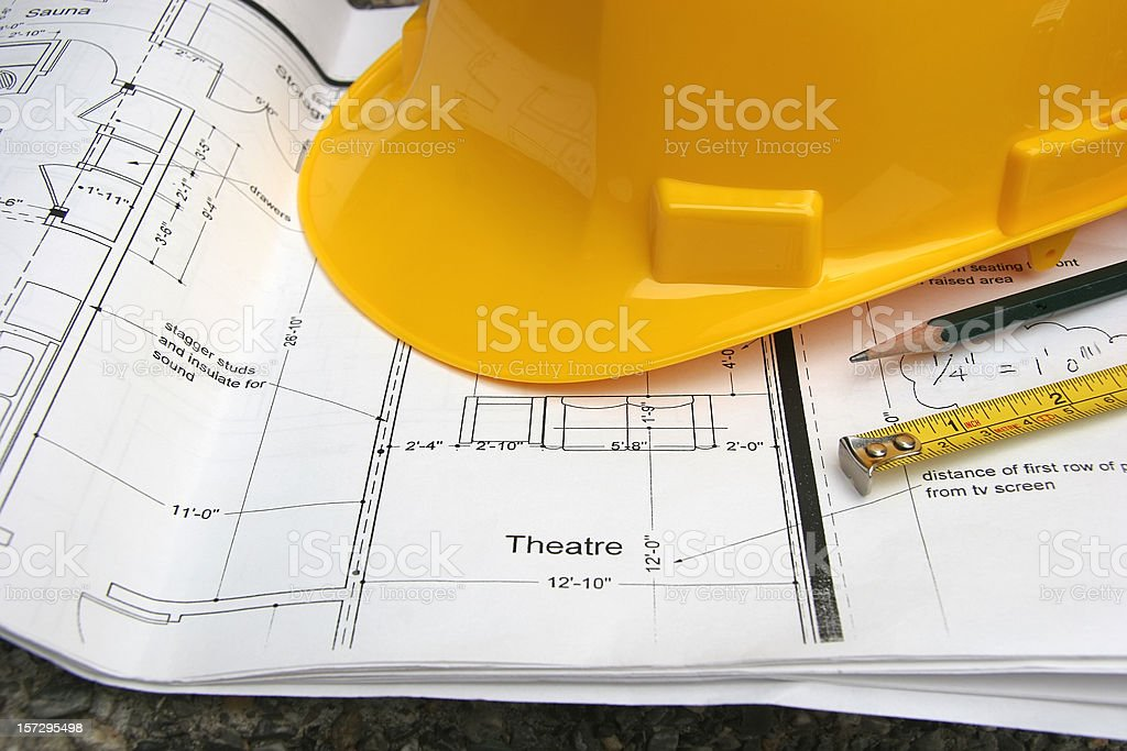 Home Theater Drawings With Yellow Hardhat. royalty-free stock photo