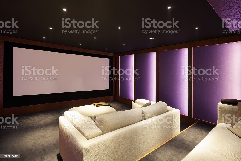 Home theater, luxury interior stock photo