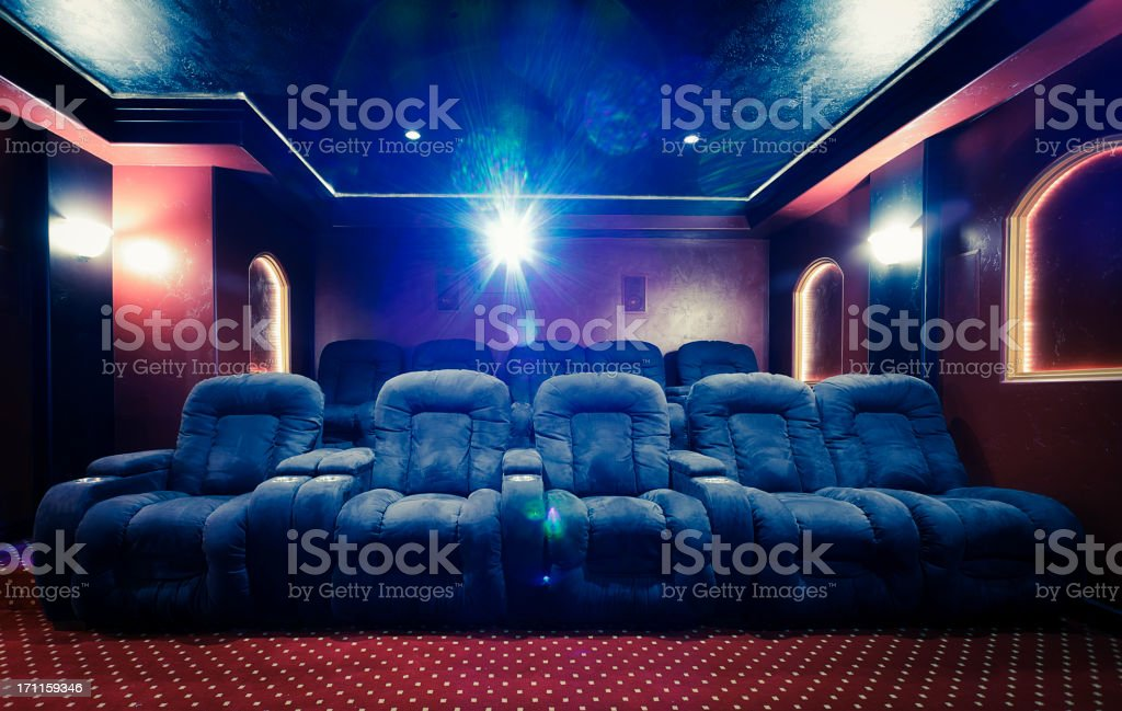 Home Theater Room with Lens Flare stock photo