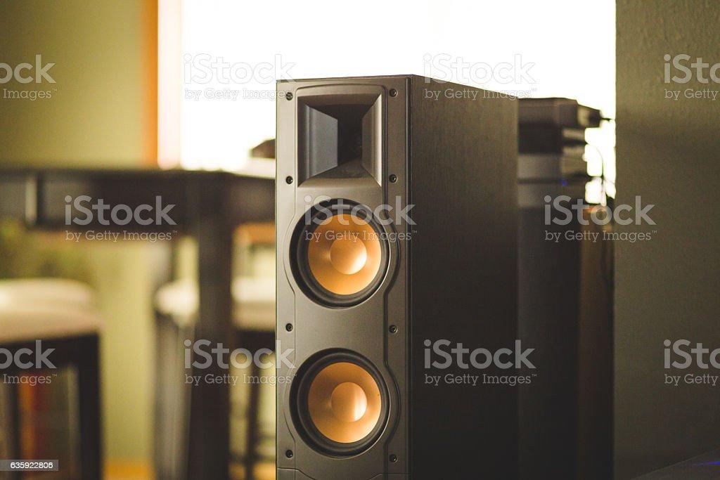 Home theater speaker inside modern home stock photo