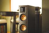 Home theater speaker inside modern home