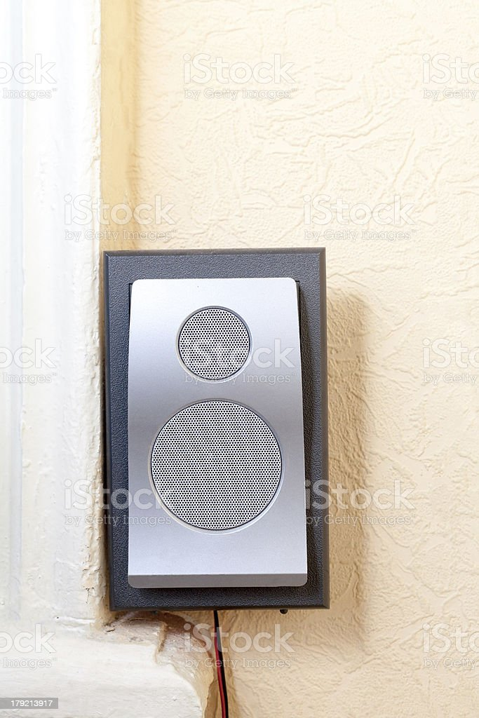 home theater speaker on old wall stock photo
