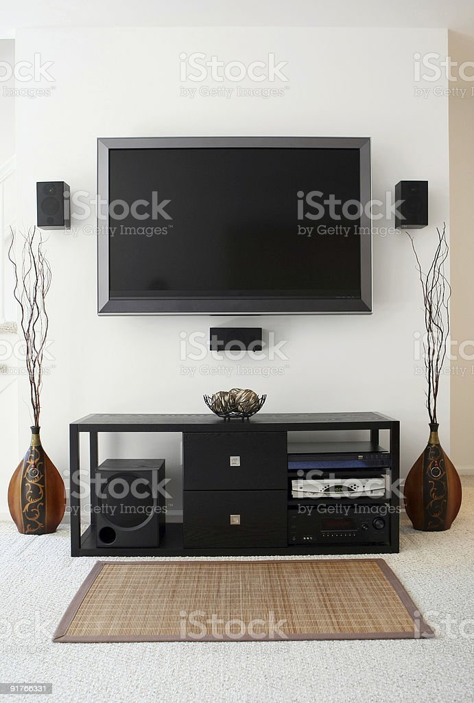 Home Theater System with Widescreen HDTV in Modern Living Room stock photo