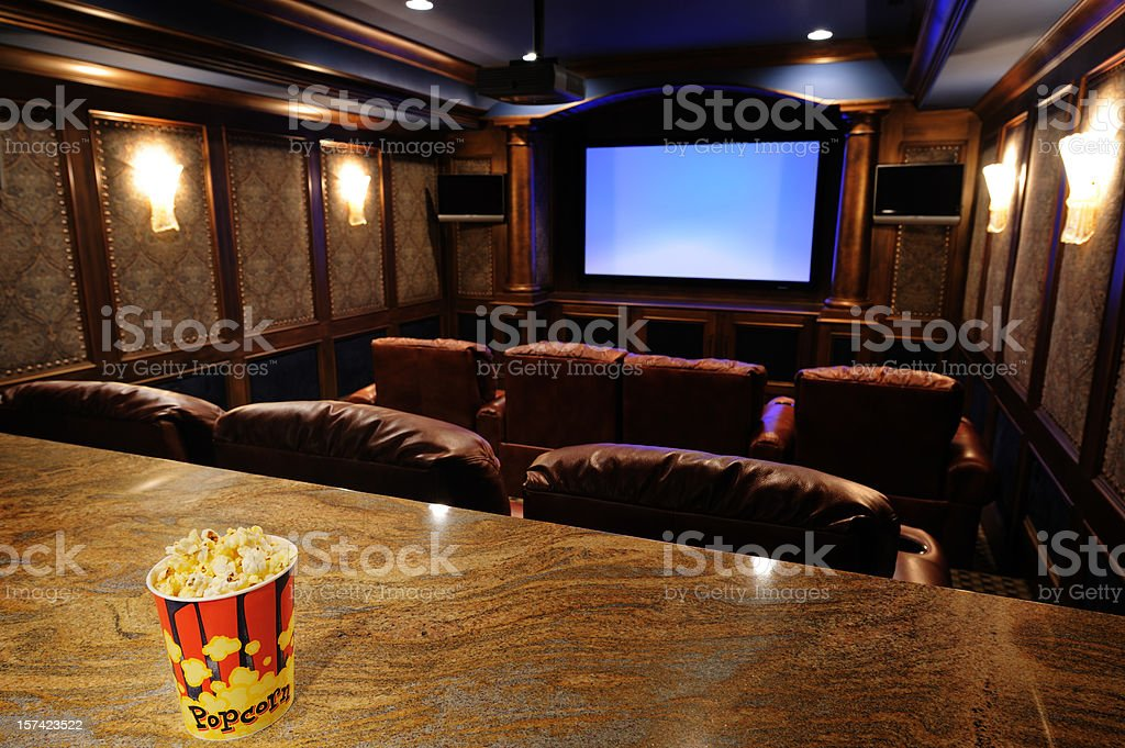 Home Theater With Focus On Popcorn stock photo