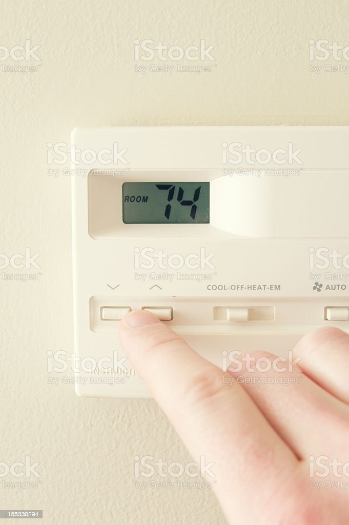 Home Thermostat Adjustment stock photo