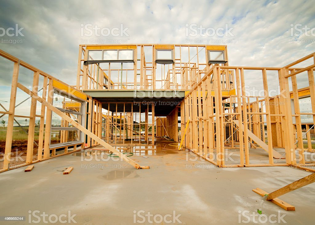 Home under construction stock photo
