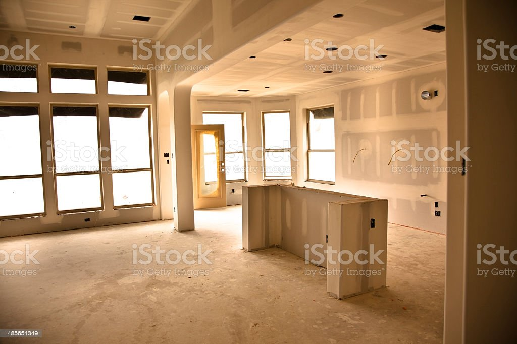 Home under construction. Sheetrock in kitchen. stock photo