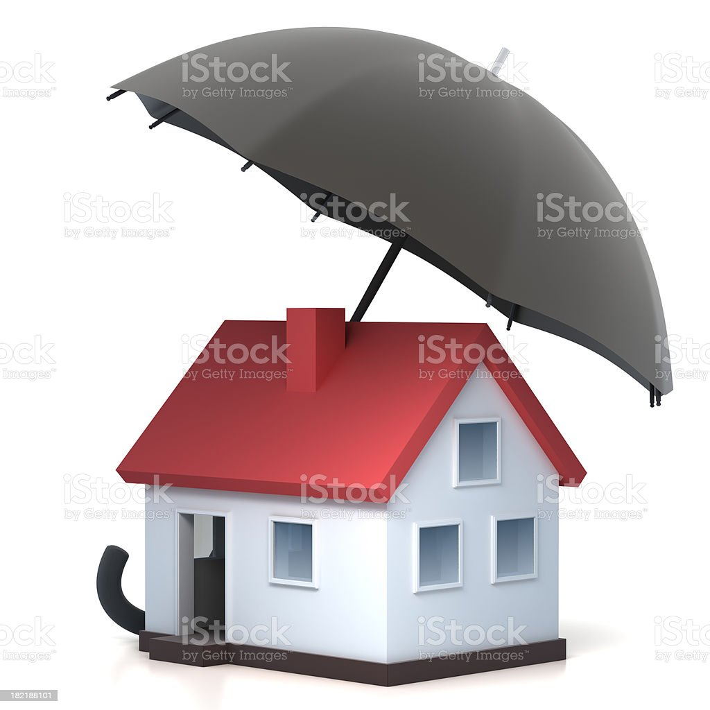 Home under umbrella - with clipping path stock photo