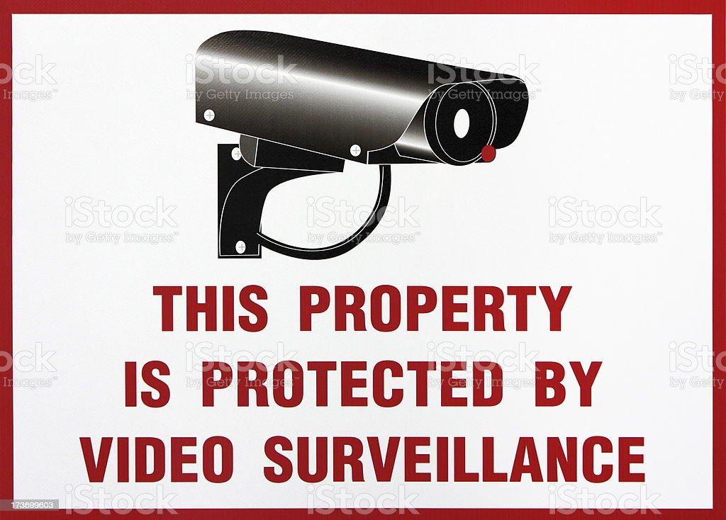 Home Video Camera Surveillance Warning Sign stock photo