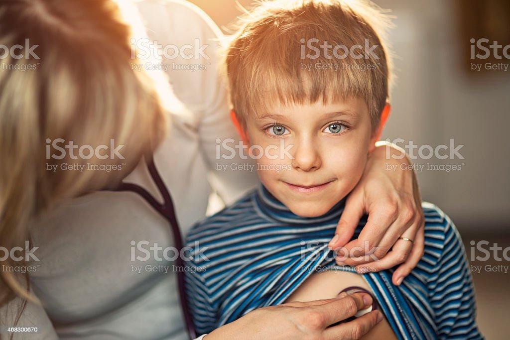 Home visit medical examination stock photo