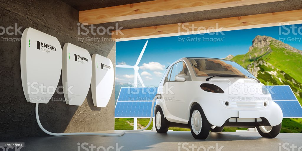 Home wall battery concept stock photo