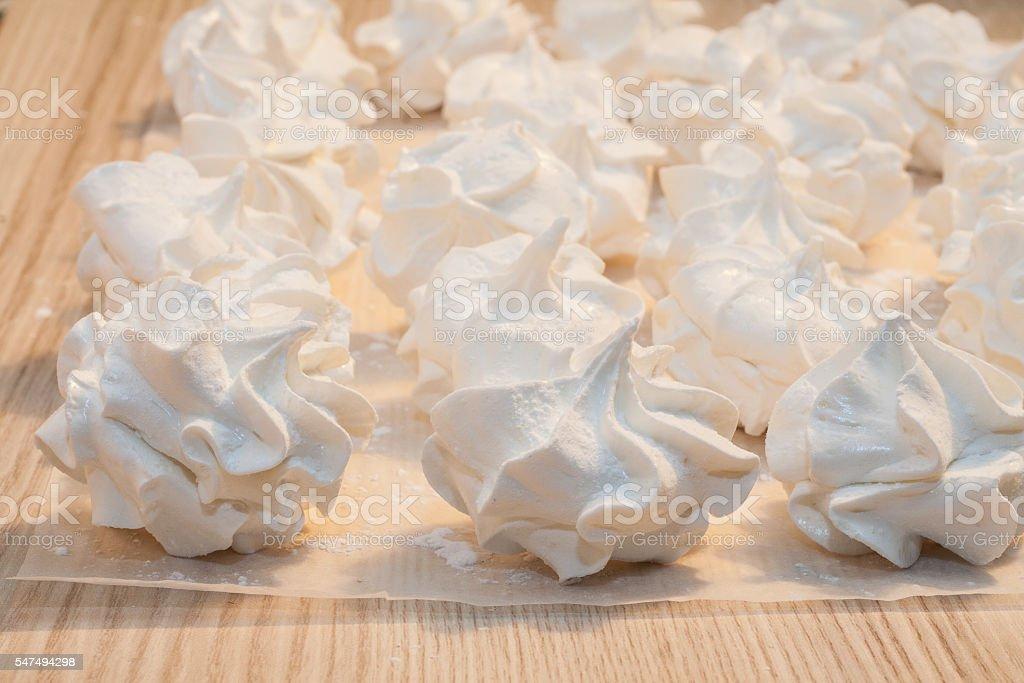 home white marshmallow meringue in retro style stock photo
