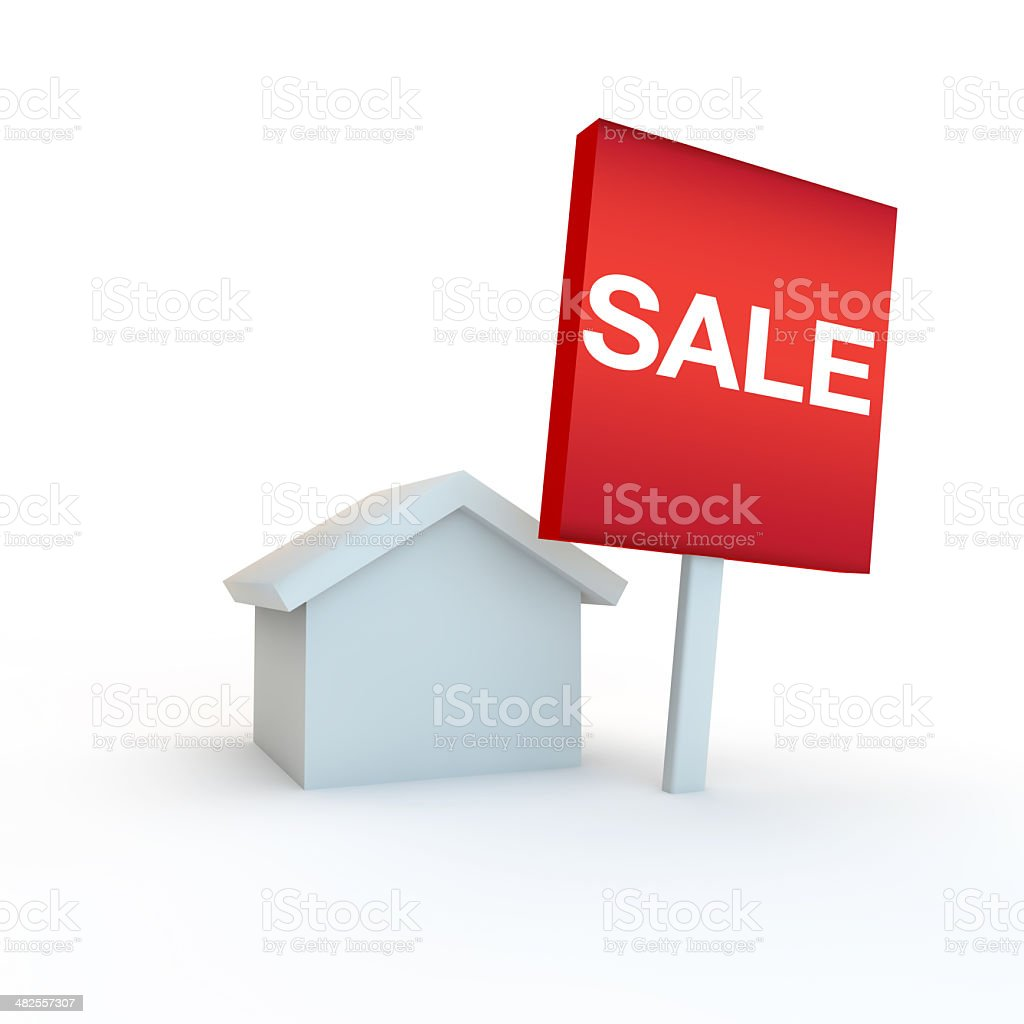 home with a sale sign outside royalty-free stock photo