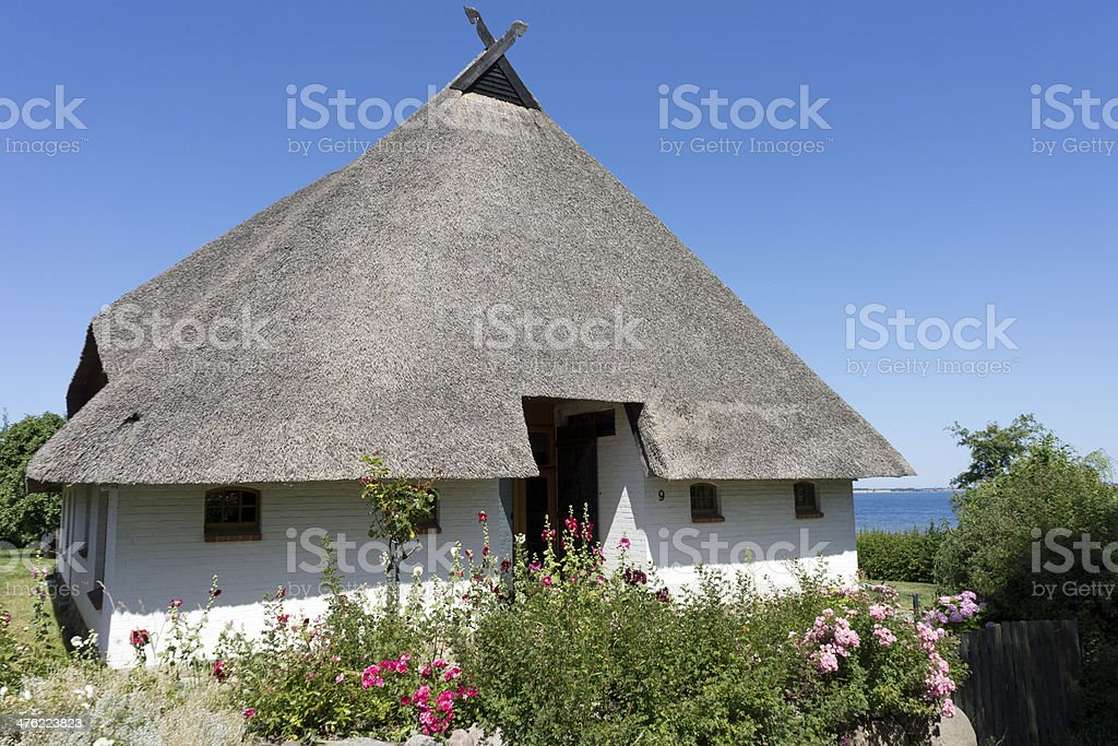 Home with a thatched roof  Hoben, Mecklenburg-Vorpommern, Germany stock photo