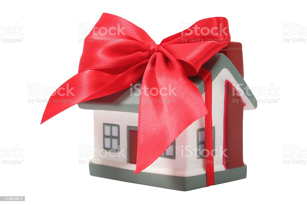 Home with ribbon royalty-free stock photo
