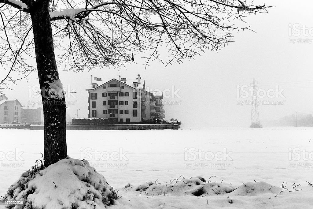 Home with snow. Black an dWhite royalty-free stock photo