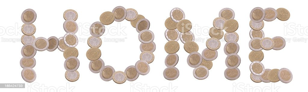 home - written with coins stock photo