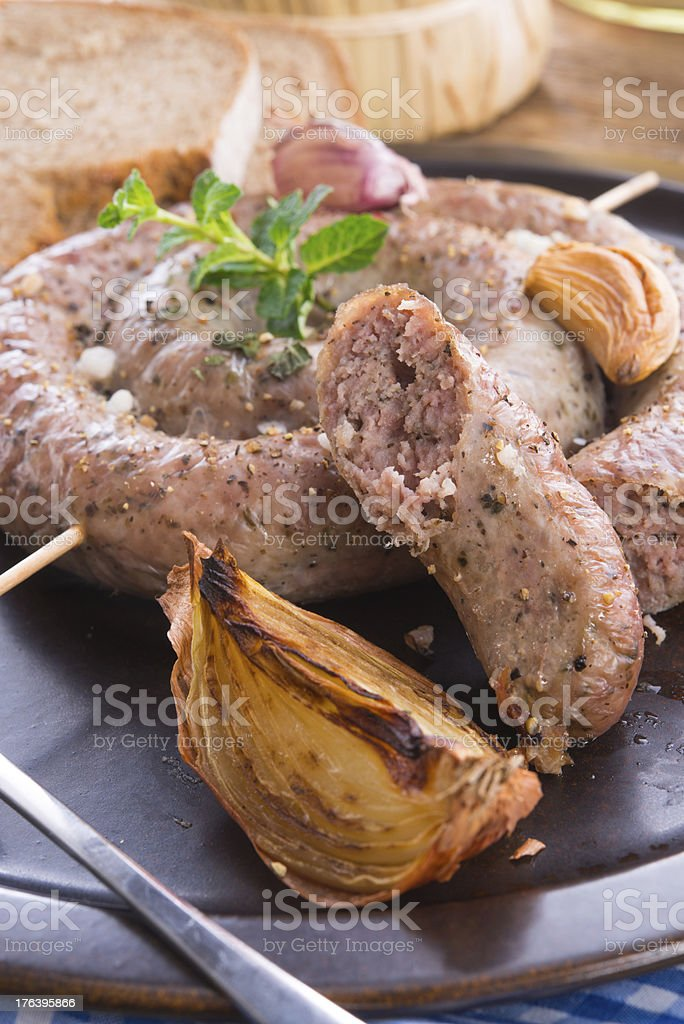 home-baked sausage royalty-free stock photo