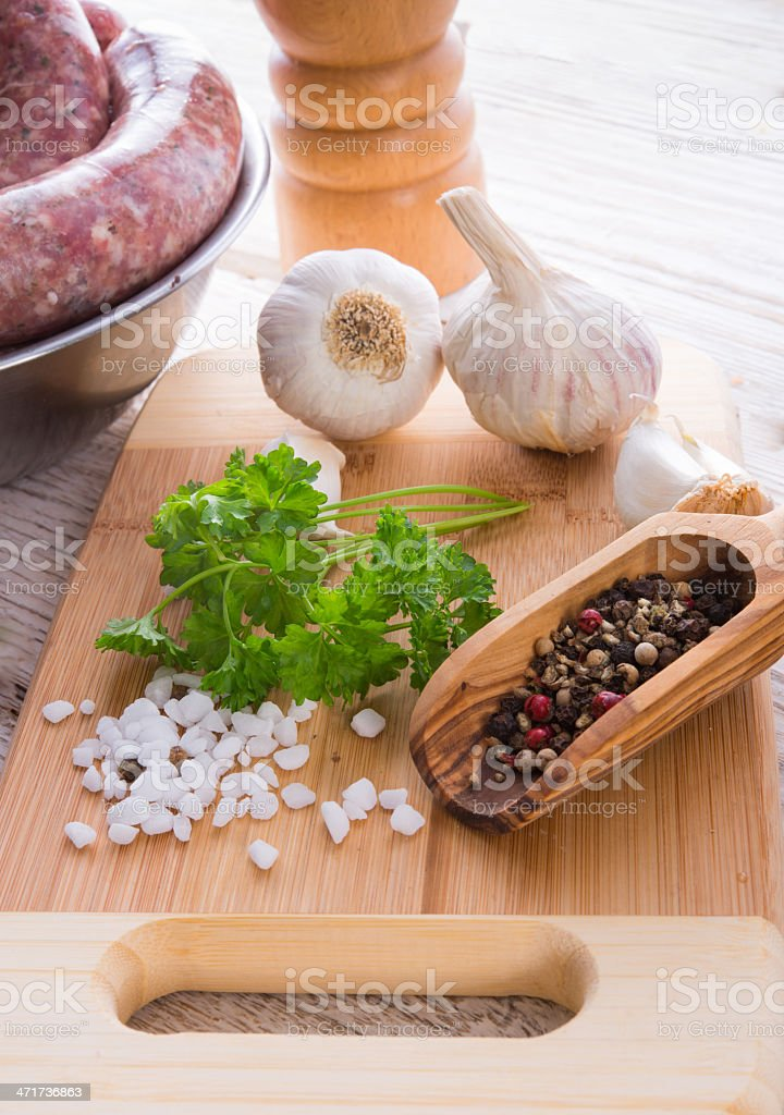 home-baked sausage stock photo