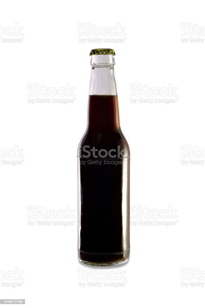 Homebrew Beer in a Clear Bottle, Dark Colored Beer stock photo