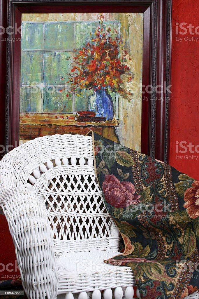 Homefurnishings with wicker chair stock photo