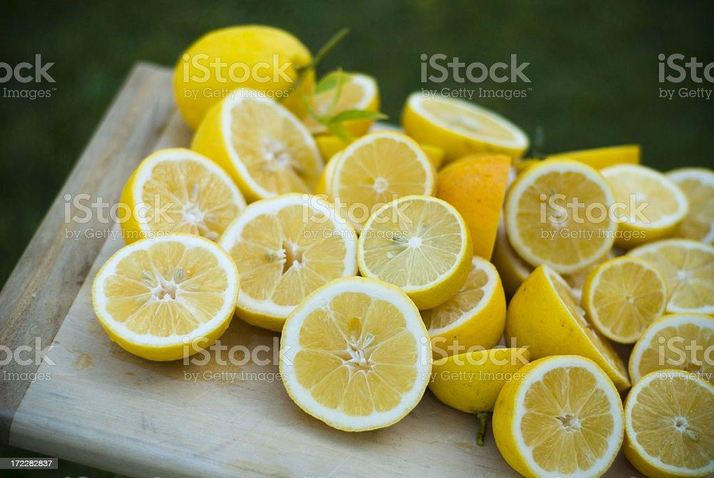 Homegrown Organic Meyer Lemons for Making & Squeezing Fresh Lemonade stock photo
