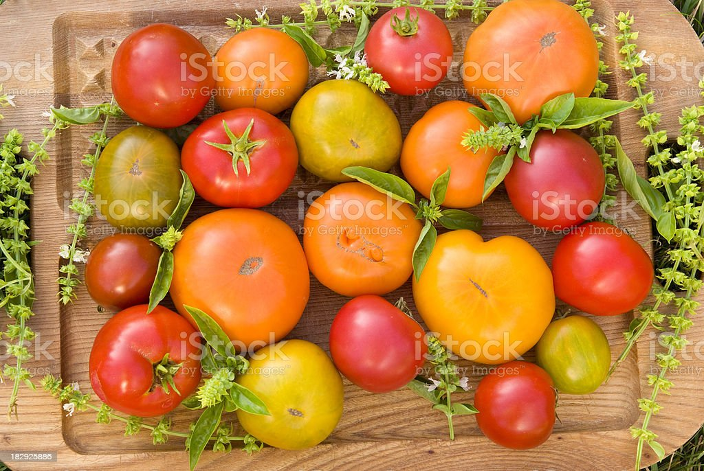 Homegrown Organic Vegetables, Heirloom Tomatoes, Fresh Summer Produce Harvest stock photo
