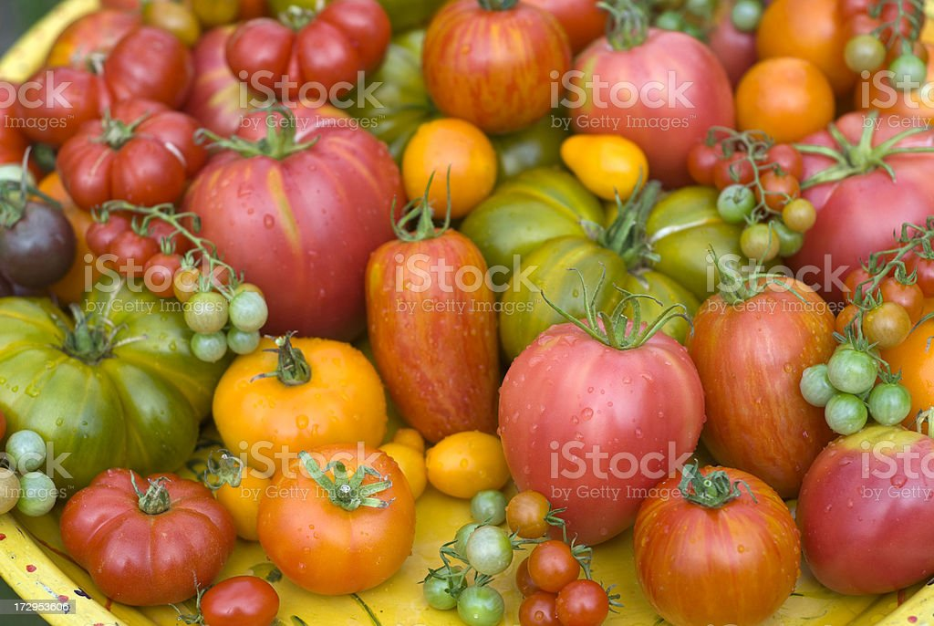 Homegrown Organic Vegetables, Heirloom Tomatoes, Summer Produce Background stock photo