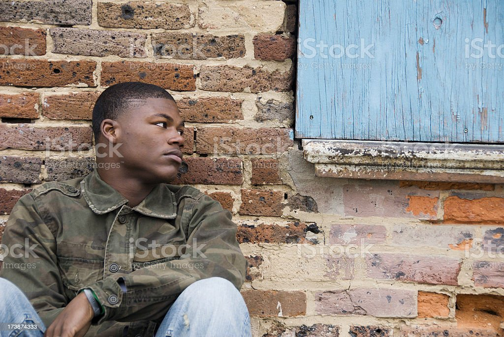 Homeless African American Teen Boy stock photo