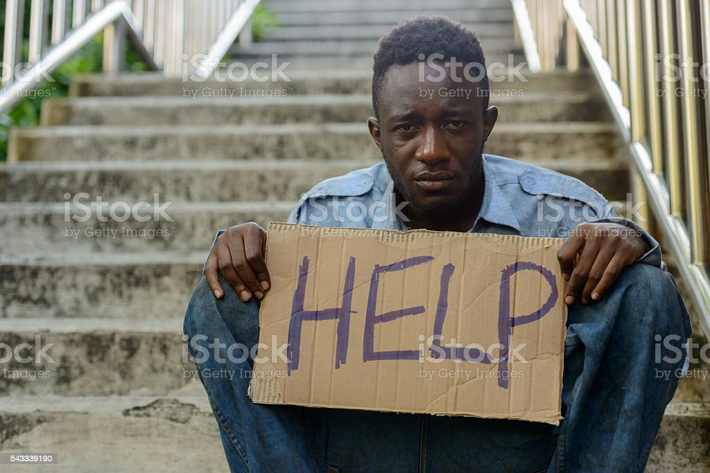 Homeless African stock photo