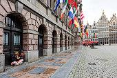 Homeless and City Hall in Antwerp, Belgium