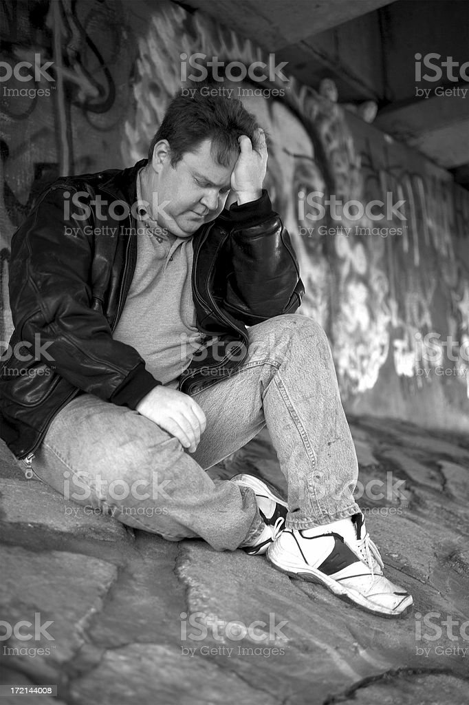 Homeless and Depressed stock photo
