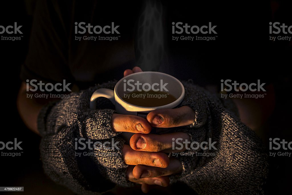 Homeless and humble stock photo