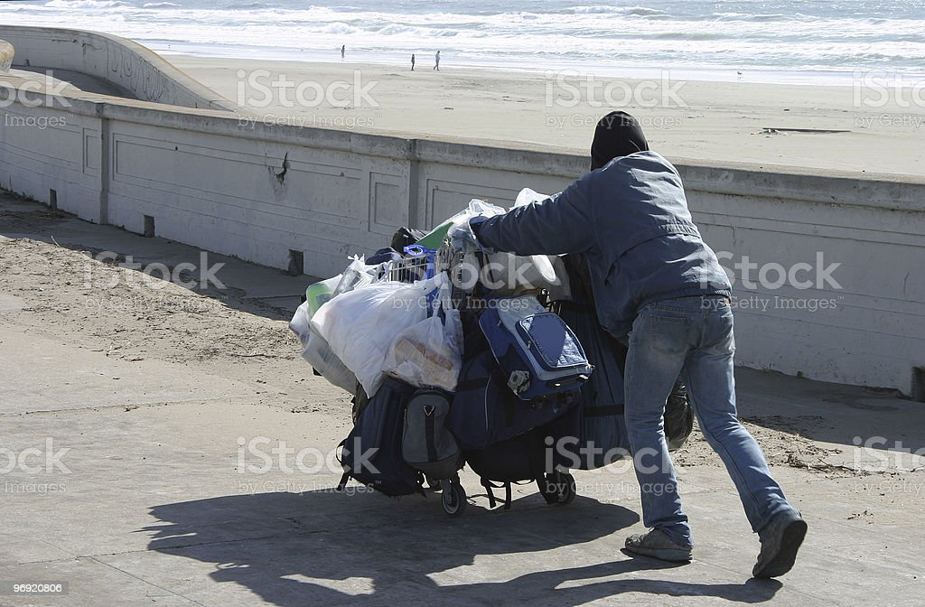 Homeless at the Beach royalty-free stock photo