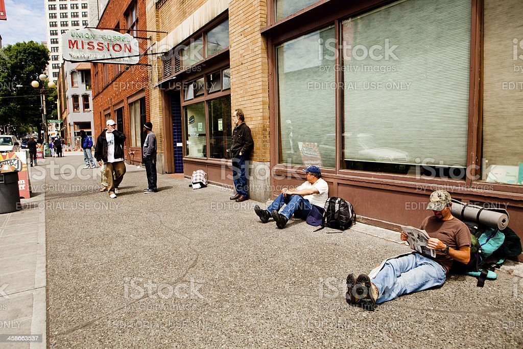 Homeless at Union Gospel Mission stock photo