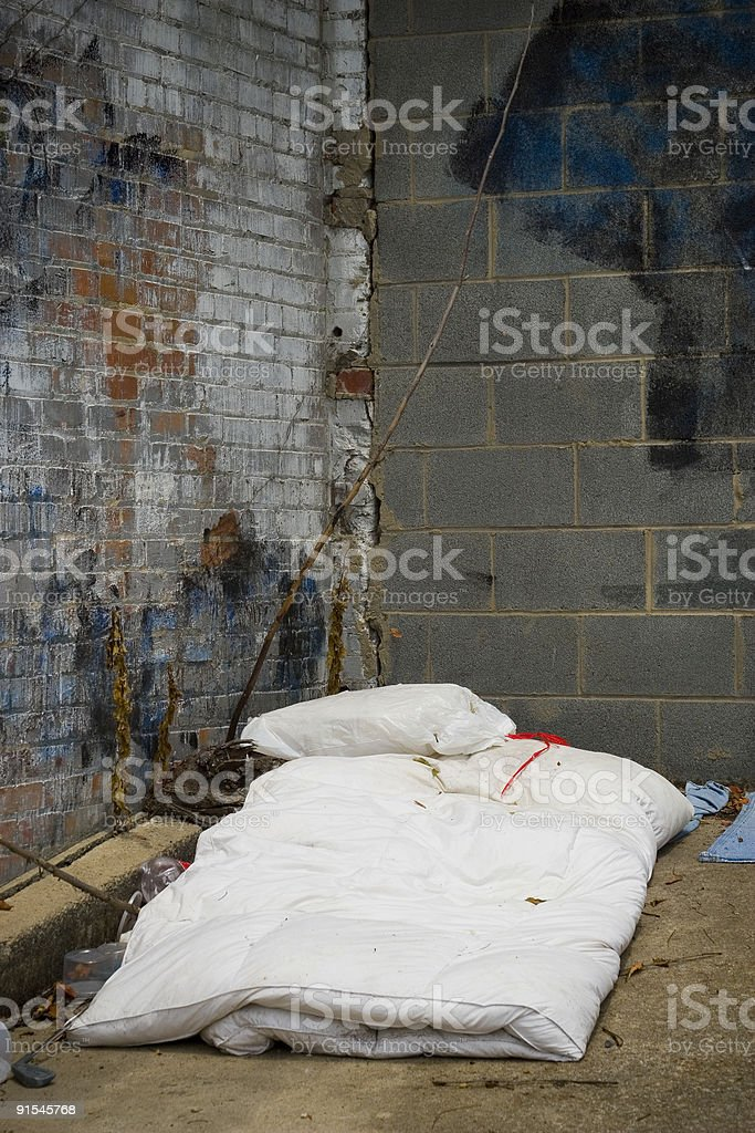 Homeless bed royalty-free stock photo