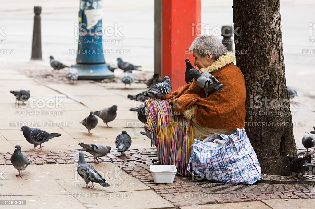 Homeless begging woman pigeons stock photo