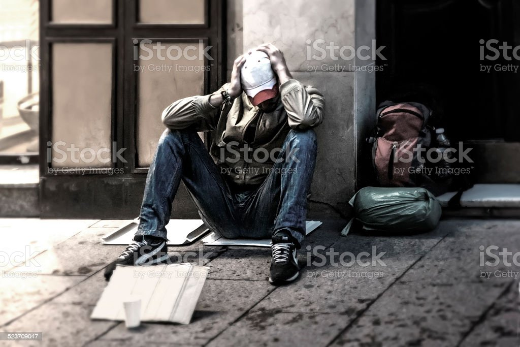 Homeless B&W stock photo