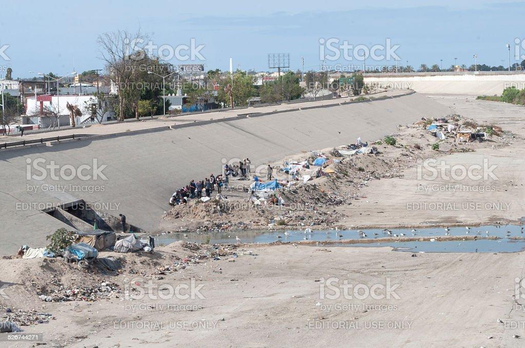Homeless camp in Tijuana stock photo