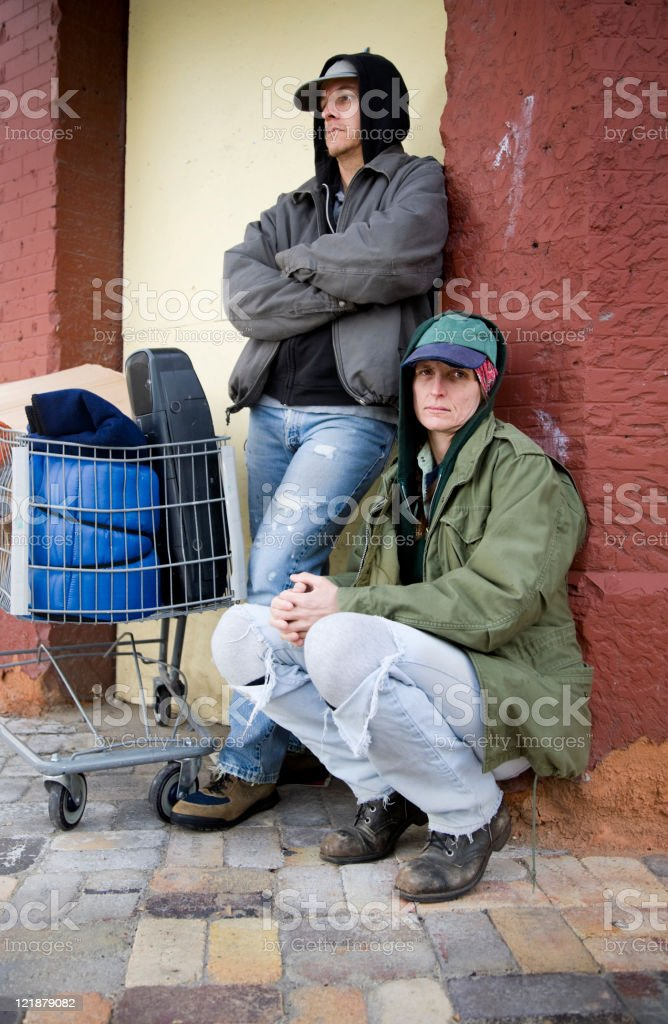 Homeless Couple on a City Street royalty-free stock photo