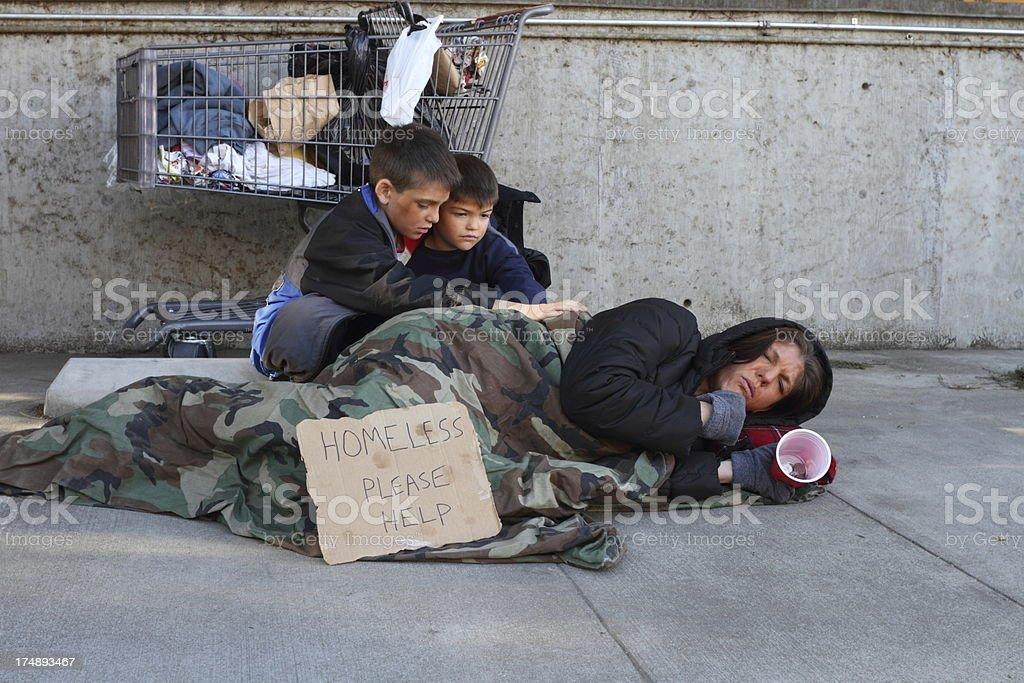 Homeless Family Mom Sick stock photo
