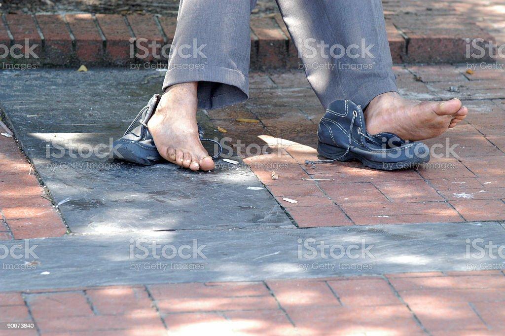 homeless feet stock photo